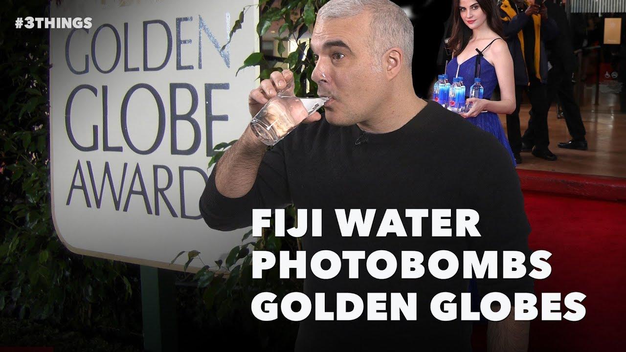 Fiji Water Photobombs Golden Globes