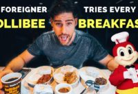Crazy FOREIGNER trying every JOLLIBEE BREAKFAST in Manila - Filipino Food Vlog!