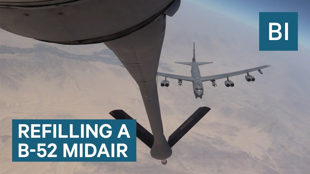 Here's how the US military refills B-52 warplanes in midair
