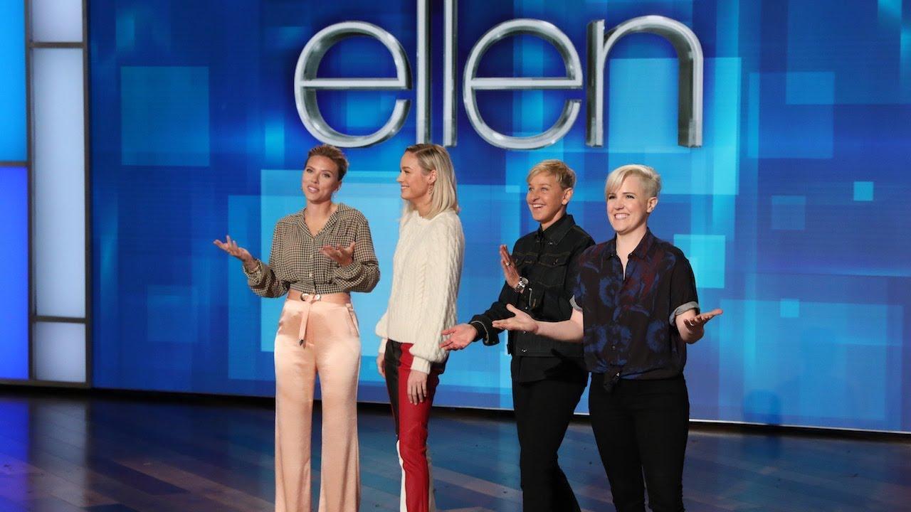 Scarlett Johansson, Brie Larson & Hannah Hart Walk Onto a Stage