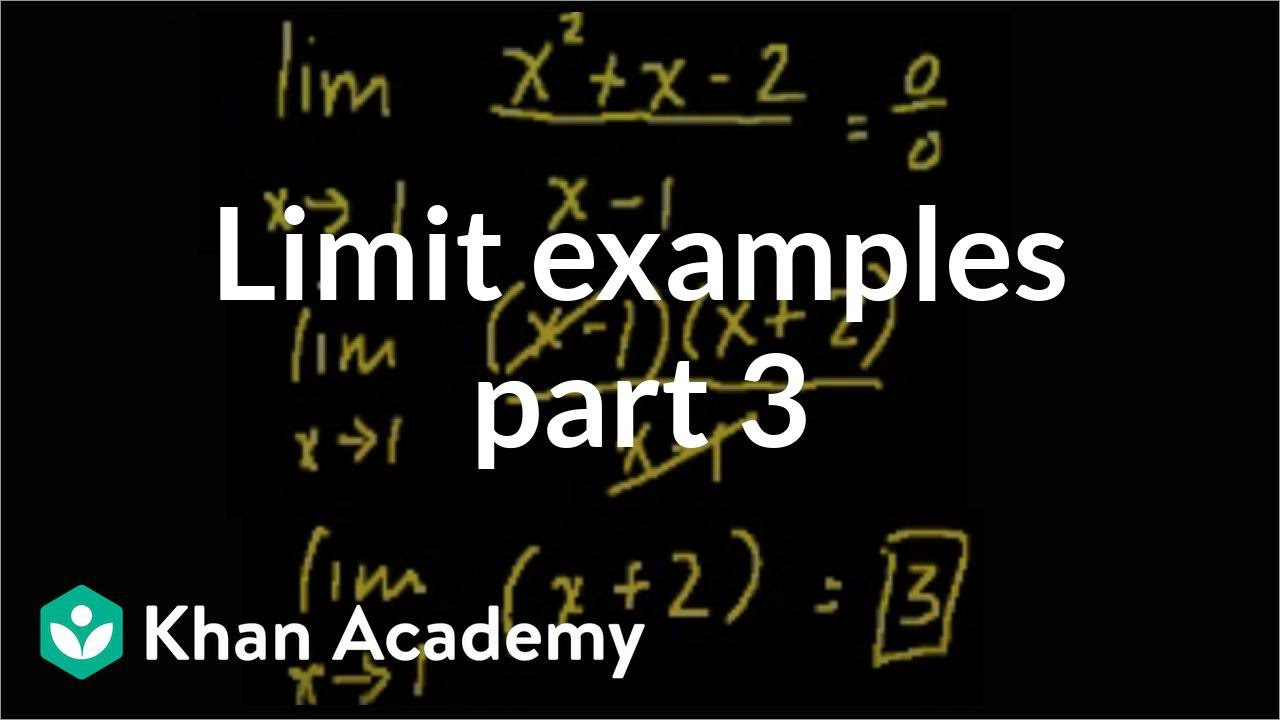 Limit examples (part 3)   Limits   Differential Calculus   Khan Academy