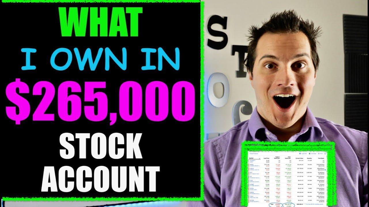 My $265,000 Stock Market Account Fully Disclosed