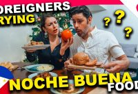 FOREIGNERS react to FILIPINO NOCHE BUENA Christmas Food