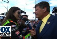 Danica Patrick Gets a 'Lift' on Michael Waltrip's Grid Walk at Kansas - 2014 NASCAR Sprint Cup