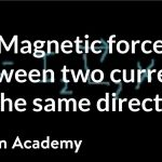 Magnetic force between two currents going in the same direction | Khan Academy